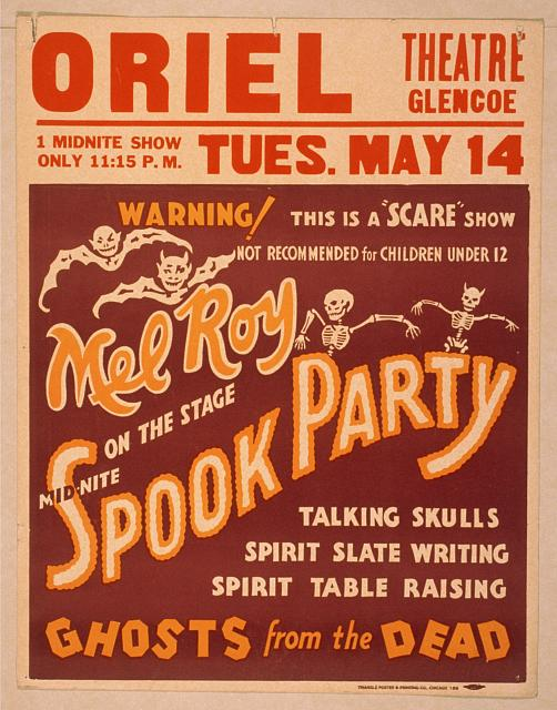 circus, classic posters, free download, graphic design, magic, movies, retro prints, theater, vintage, vintage posters, Mid-Nite Spook Party, Ghosts from the Dead, Scare Show - Vintage Theater Magic Poster