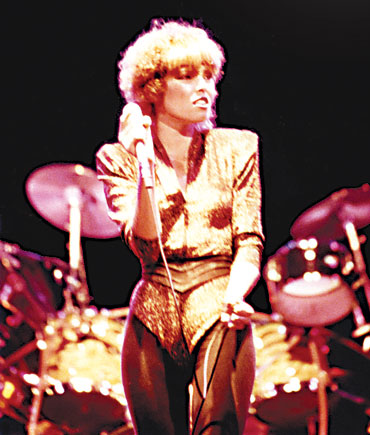 Pat Benatar 80s Fashion Pat in a 1980's gold 3/4