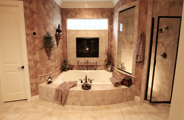 Bathroom With Fireplace Living Room Design Ideas