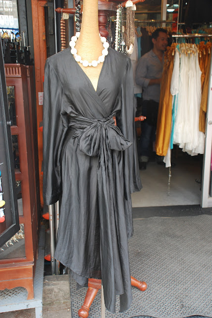 grey silk dress at Kinnaree in Bangkok's Chatuchak Market