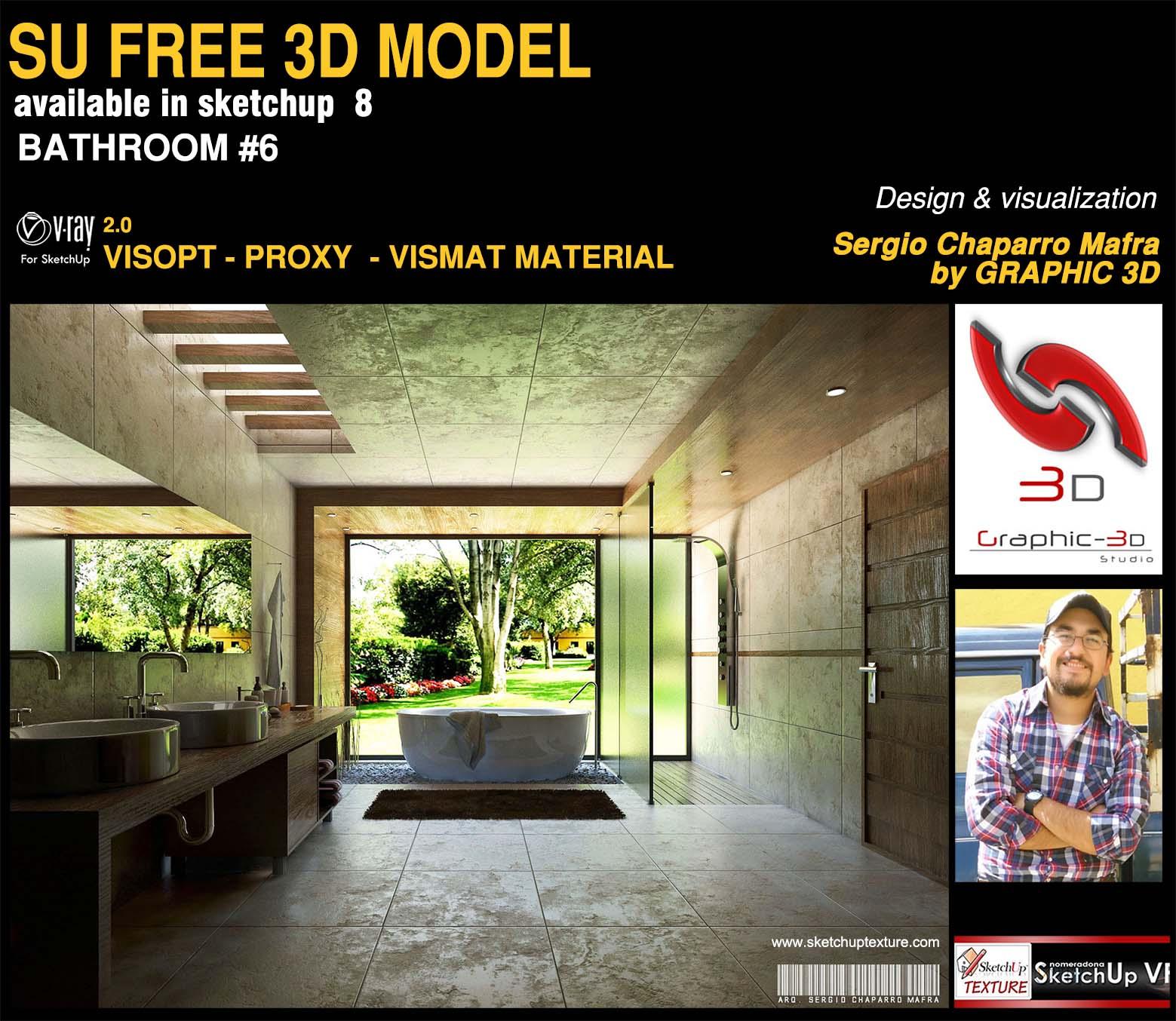 free sketchup 3d model bathroom #6 by Arq Sergio Chaparro Mafra