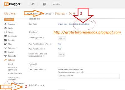 cara delete blog sendiri
