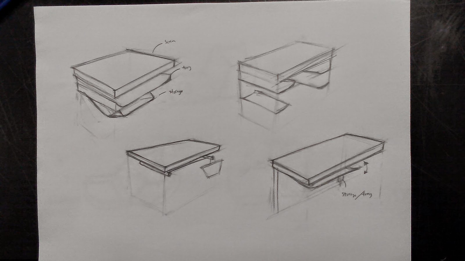 Bon The Table Sketches Were Done By Wen Li . We Planned To Design The Table  Which Could Let The Students To Put Their Belongings Under The Table .