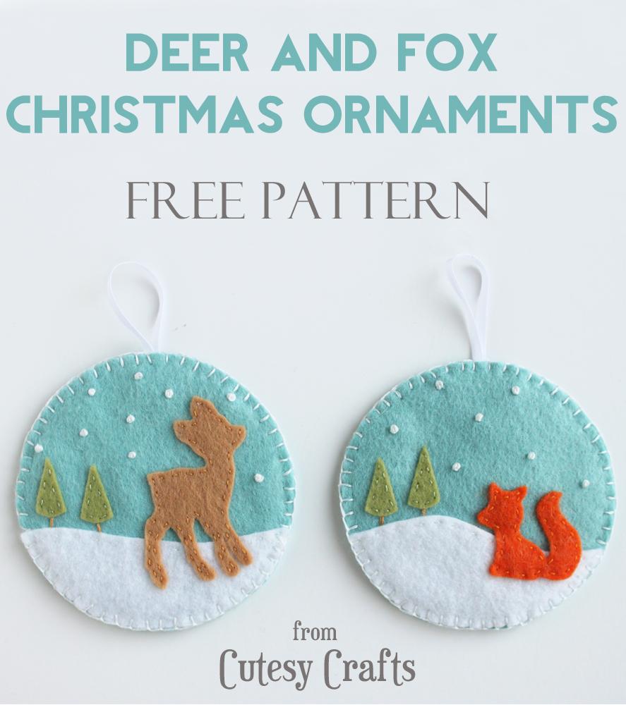Felt deer and fox christmas ornaments cutesy crafts