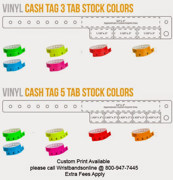 Cash Tag Vinyl Wristbands