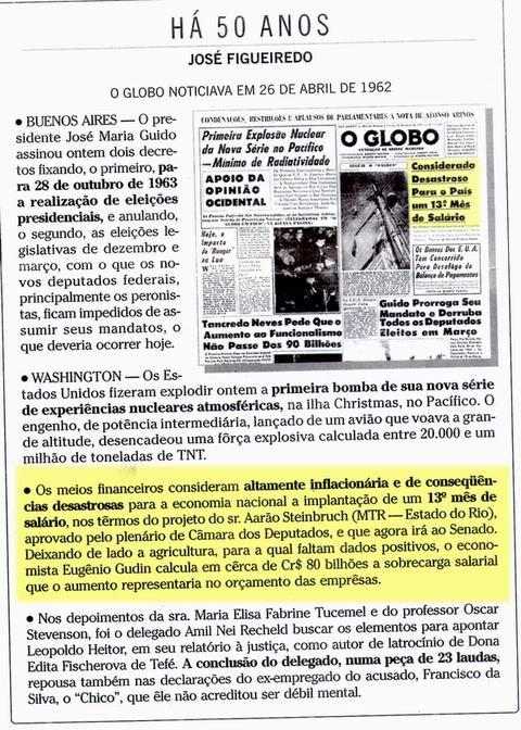 Globo critica o 13º salário