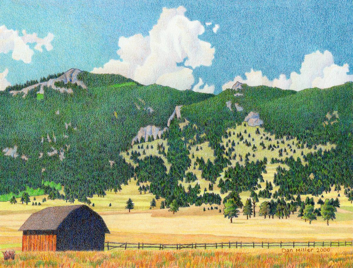 Impression Evergreen: Bergen Peak Summer - Colored Pencil Drawing