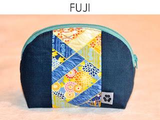 Kosmetiktäschchen Fuji aus japanischen Stoffen von Noriko handmade, handgemacht, Einzelstück, Unikat, Schminktäschchen, Design