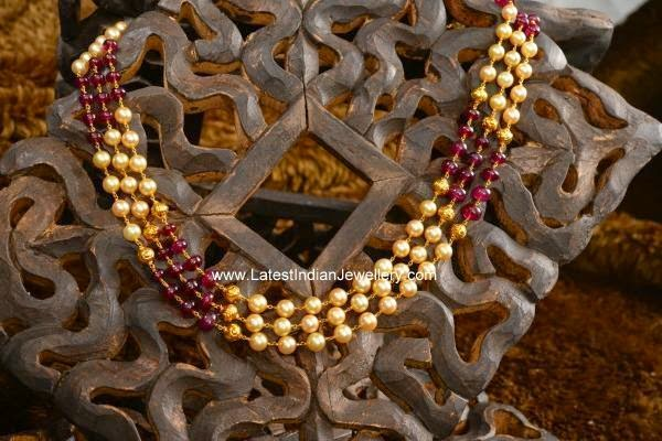Pearls and Rubies Beads necklace