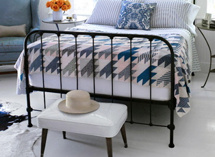 blue white black bedroom