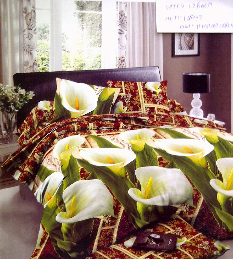 Sprei Satin Jepang Motif Bunga Terompet Hijau Coklat