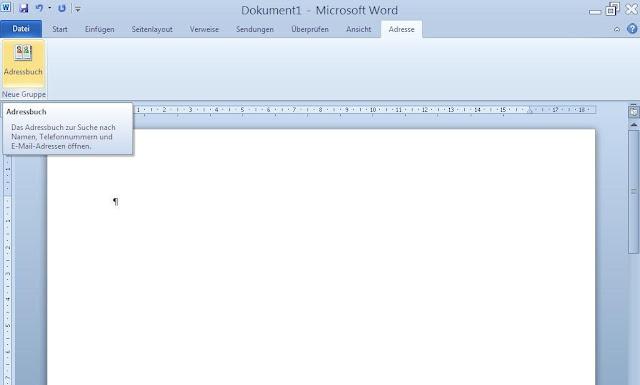 Word neues Menü Adresse mit Schaltfläche Adressbuch