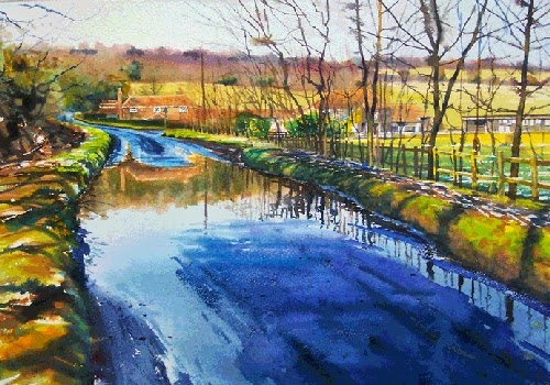 15-Puddle-Joe-Francis-Dowden-Photo-Realistic-Watercolour-Paintings-www-designstack-co