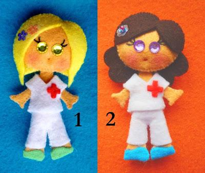 broche de fieltro, broche fieltro, enfermera fieltro, enfermera de fieltro, broche enfermera
