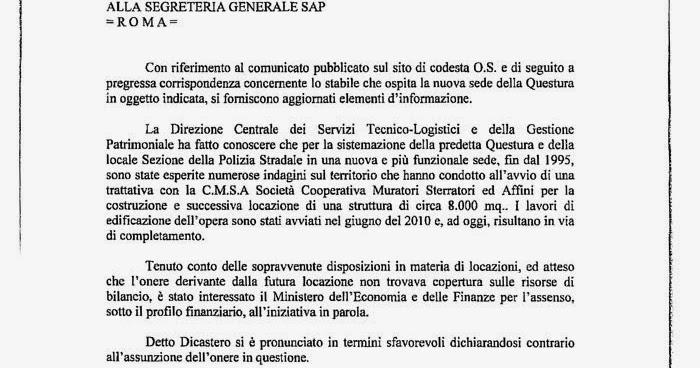 Quarrata news quotidiano on line nuova questura il for Ministero interno p iva