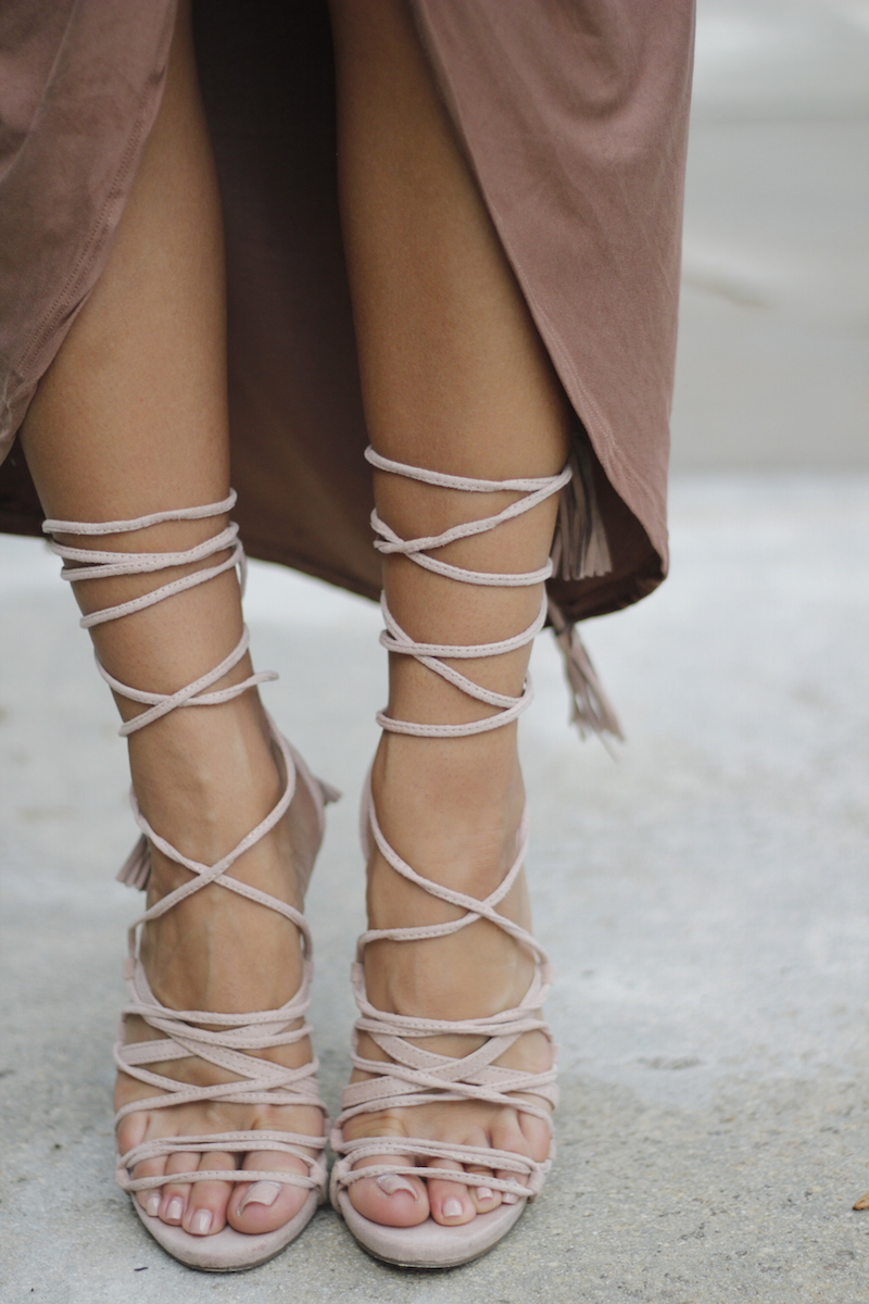 lace up nude heels tassels