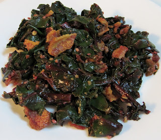 spicy beet greens with bacon