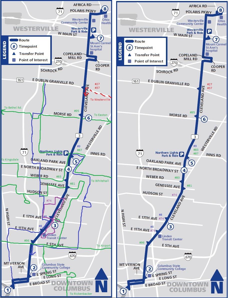 biking columbus bus route pamphlet improvements