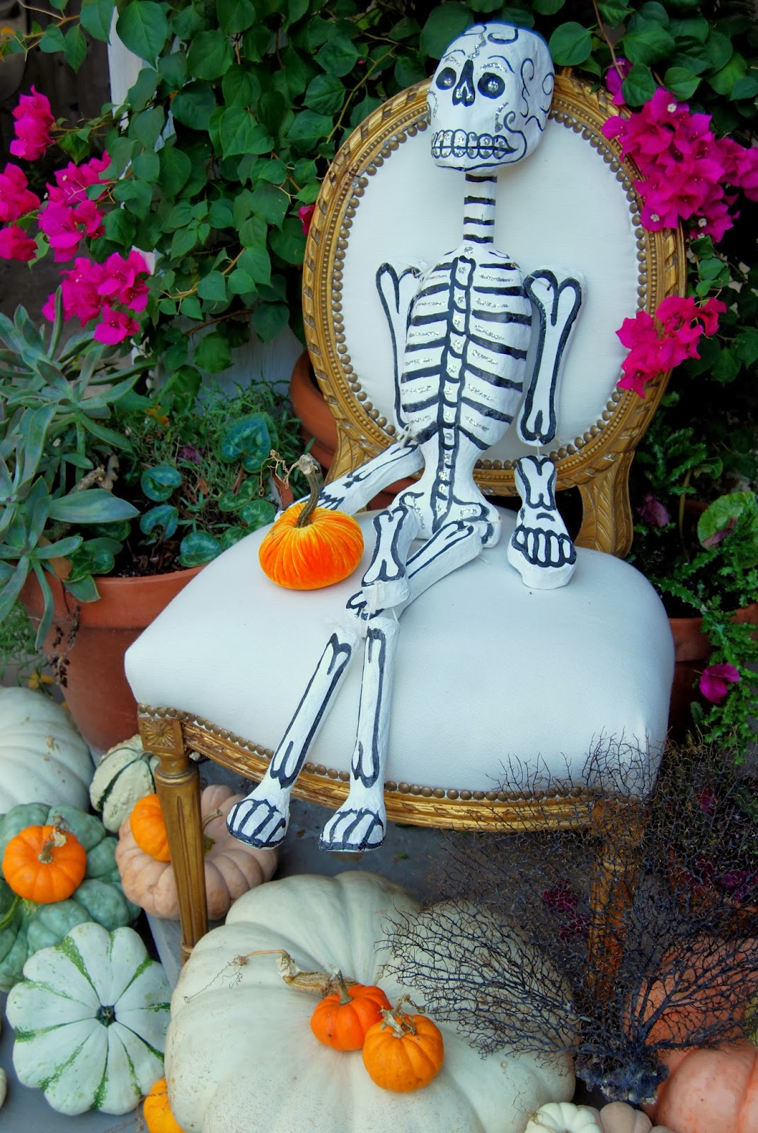 Skeleton Greeting Trick-or-Treaters ; Here Come the Skeletons