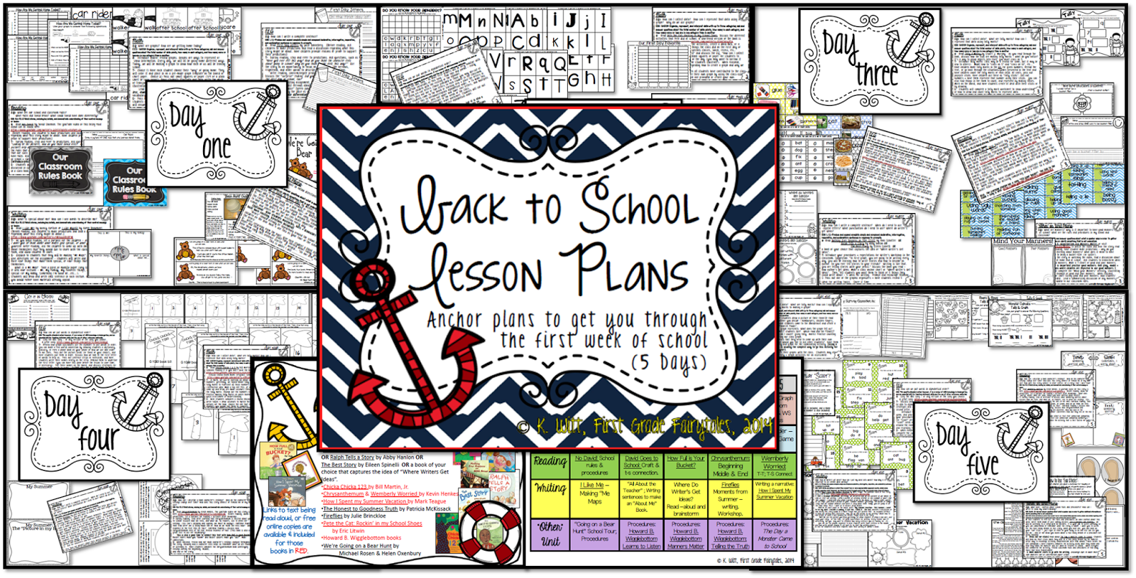 http://www.teacherspayteachers.com/Product/Back-to-School-Anchor-Lesson-Plans-First-Grade-1321858