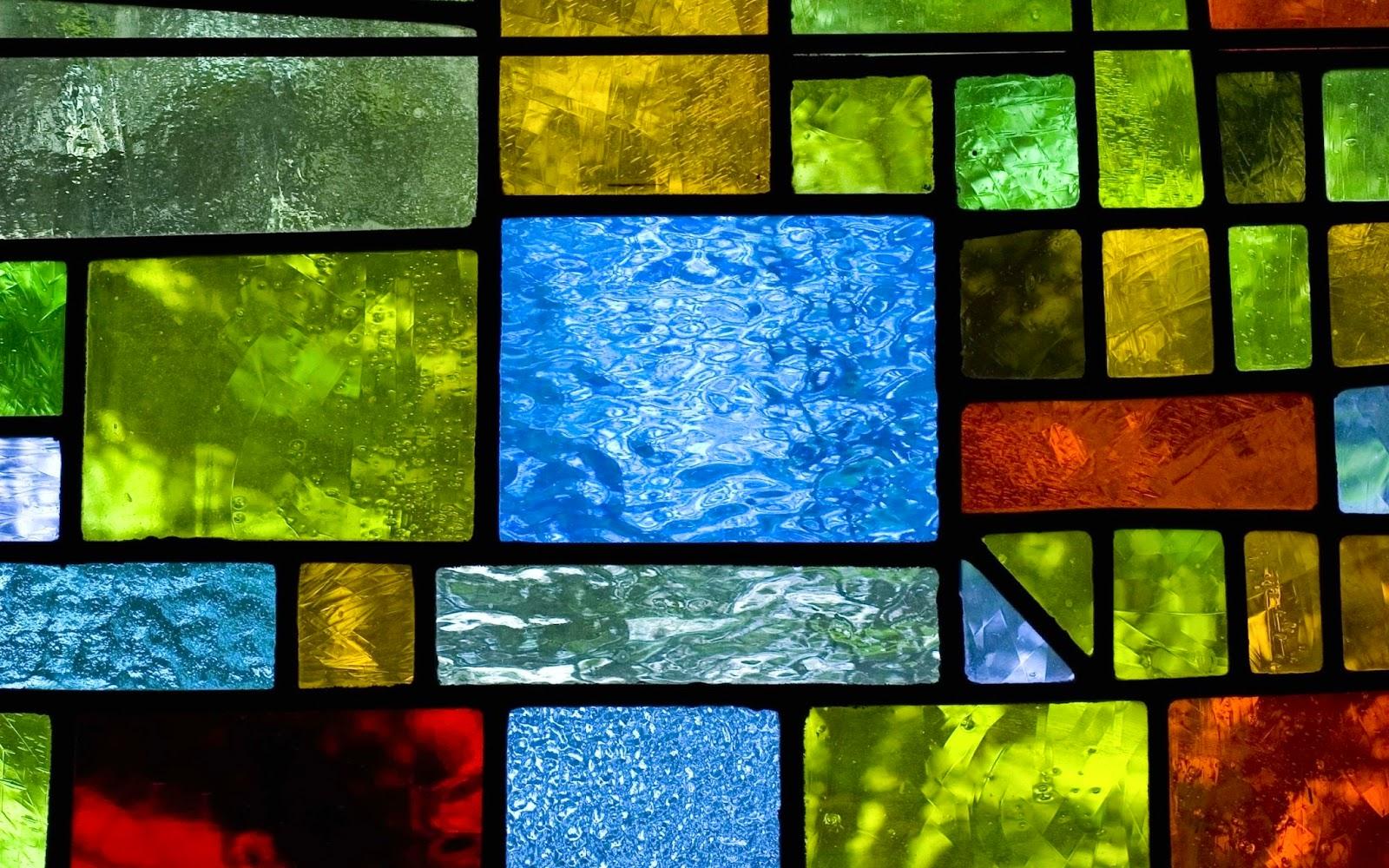 Wallpaper met gekleurd glas in lood raam