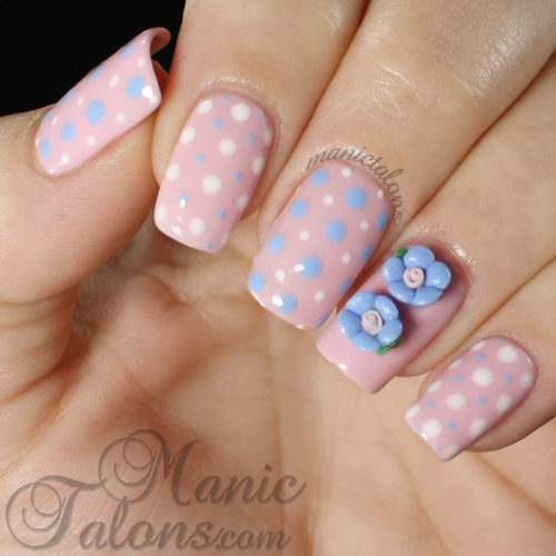 Dots and Roses Manicure