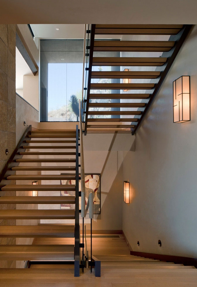 Stairs in modern Dream home in the desert, Paradise Valley