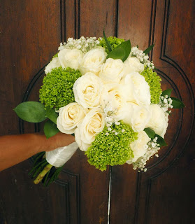 posy bouquet made from white roses, green hydrangeas, baby's breaths and ruscus leaves