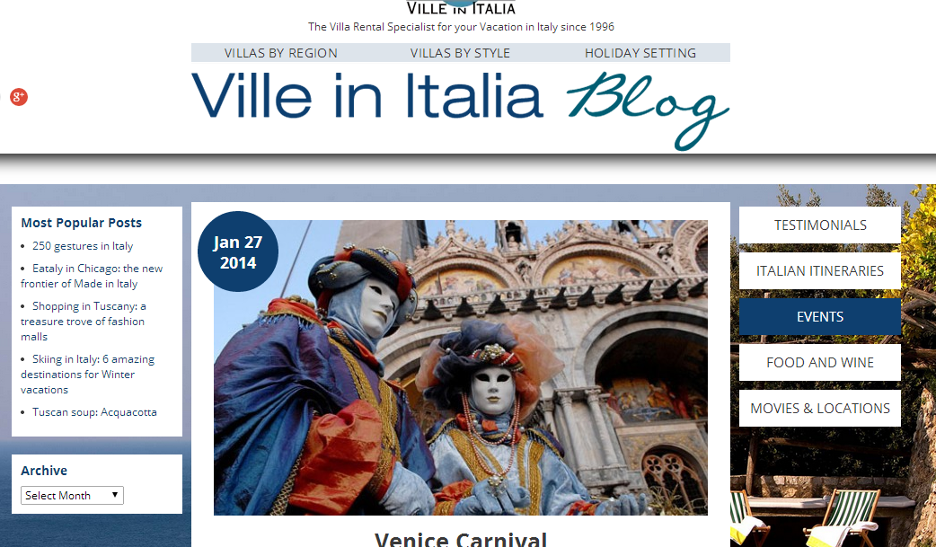 Colazione a Venezia was mentioned in an article on the Venice Carnival, on the Ville in Italia Site