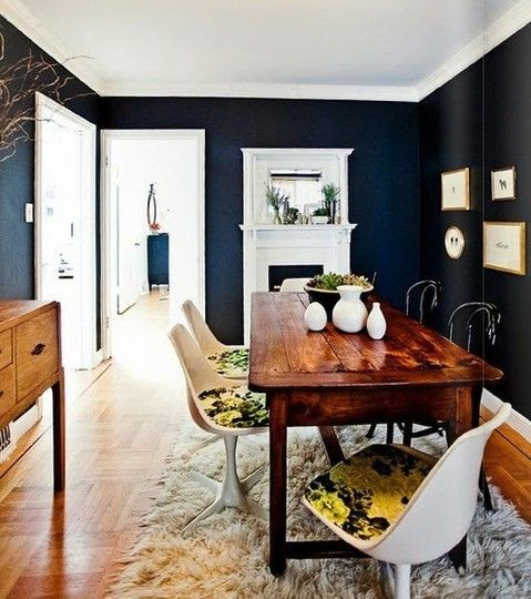 modern eclectic dining room shag black walls