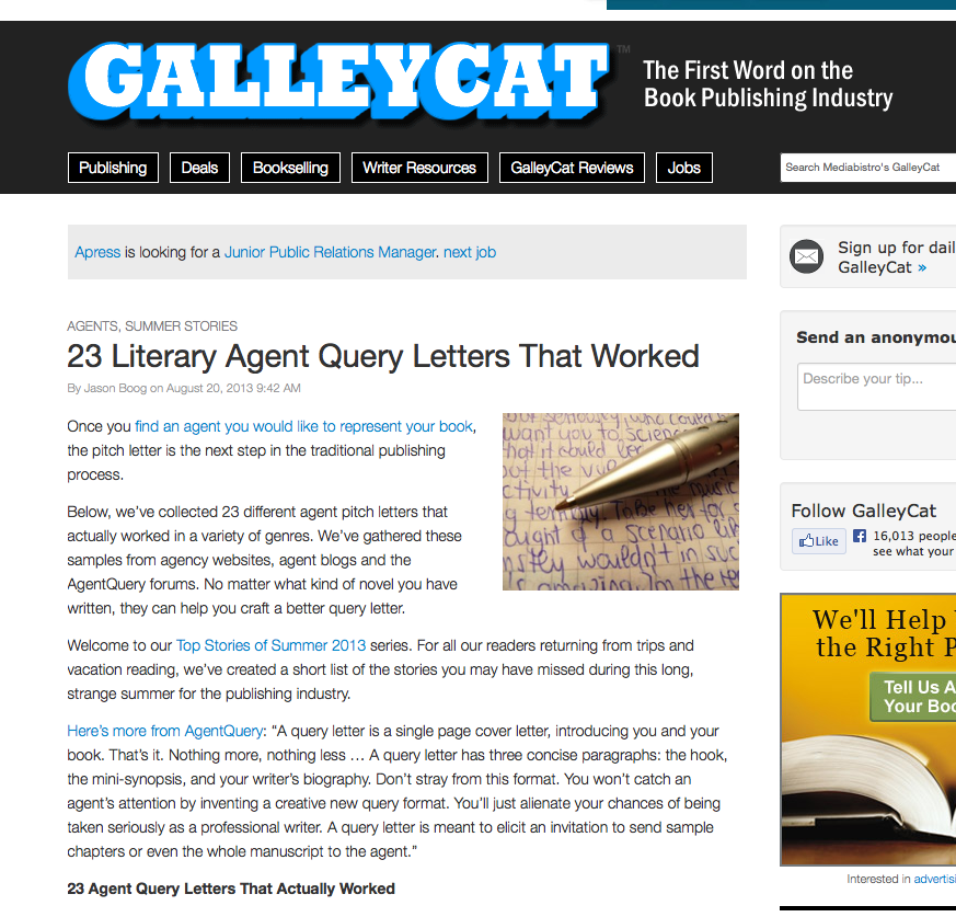 The official scbwi blog query letters to agents that worked jason boog for mediabistros galleycat pulled together this great resource 23 query letters to literary agents that worked spiritdancerdesigns Image collections