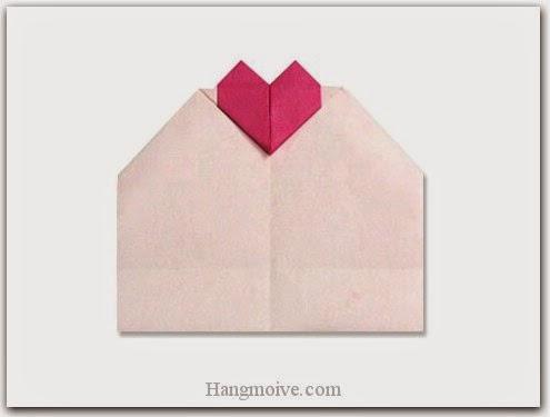 Cách gấp, xếp tấm thiệp, bưu thiếp hình trái tim bằng giấy origami - Video hướng dẫn xếp hình trái tim quà tặng - How to fold a Heart Messenge Card