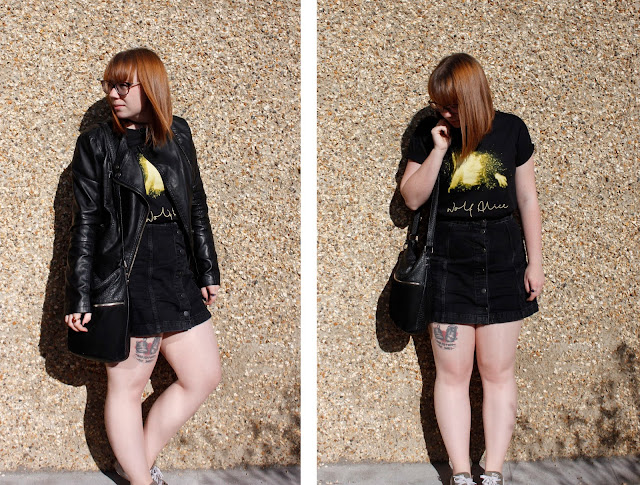 wolf alice t-shirt with black a line skirt and leather jacket