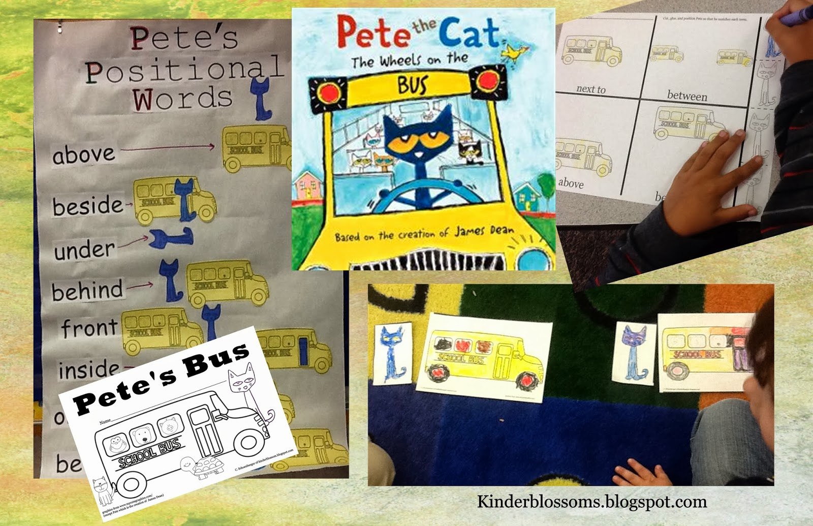 Christinas Kinder Blossoms Positional Words With Pete The Cat The