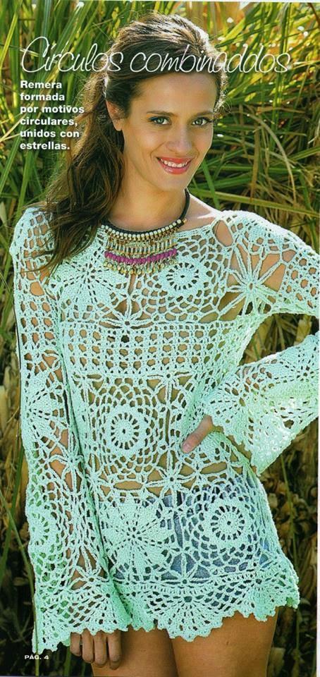 Bella blusa tejida con ganchillo con grannys con explicación y patrones