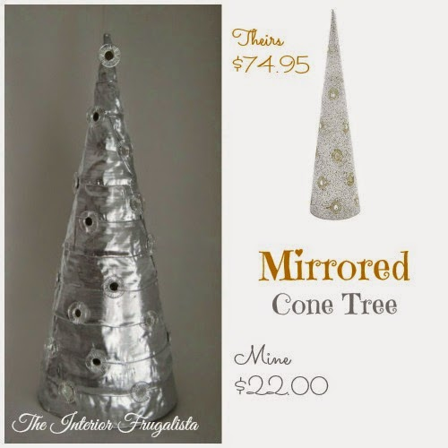 Pier I inspired mirrored Christmas cone tree