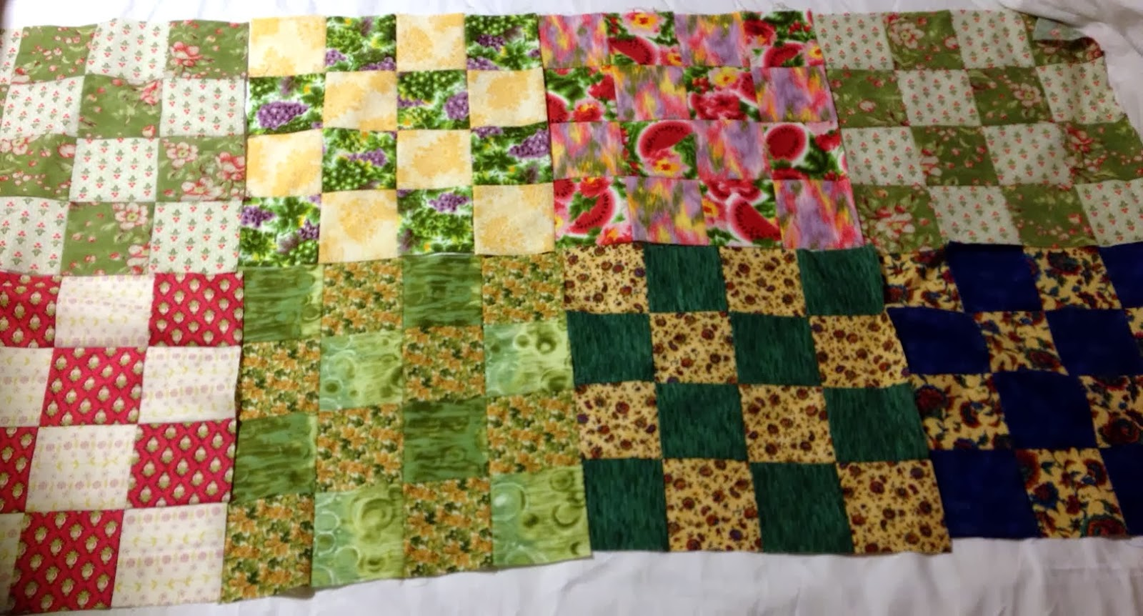A Dad who dyes fabrics and quilts.: Fast blocks from Fat Quarters: St. Louis 16-Patch
