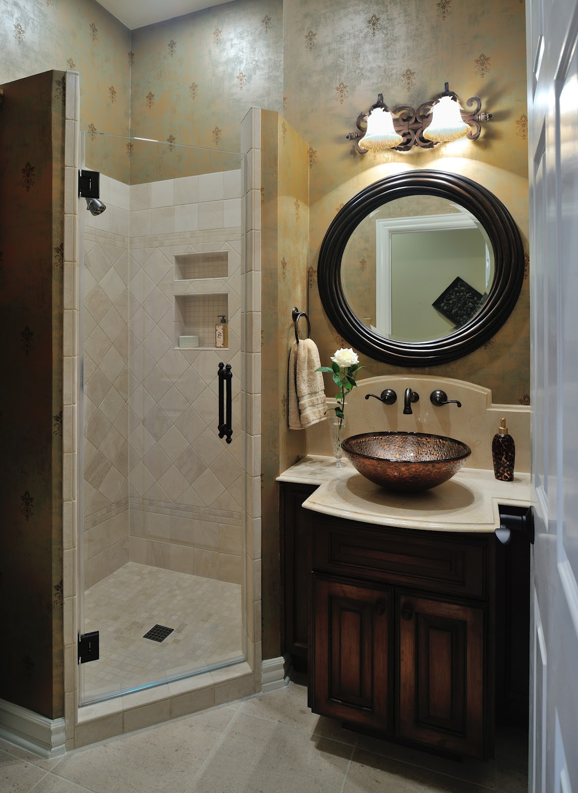 Design in the woods powder room remodel Small bathroom remodel designs