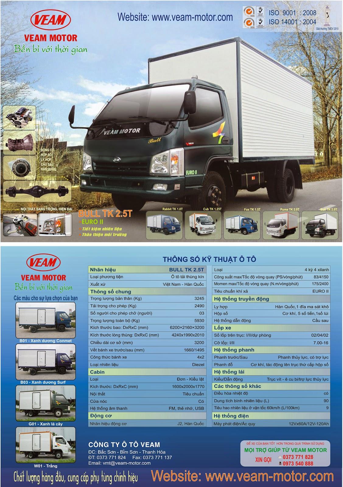 xe tải Veam 2 tấn 5 - BULL TK 2.5T