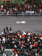 Giants Parade. View of the crowd from my school's window.
