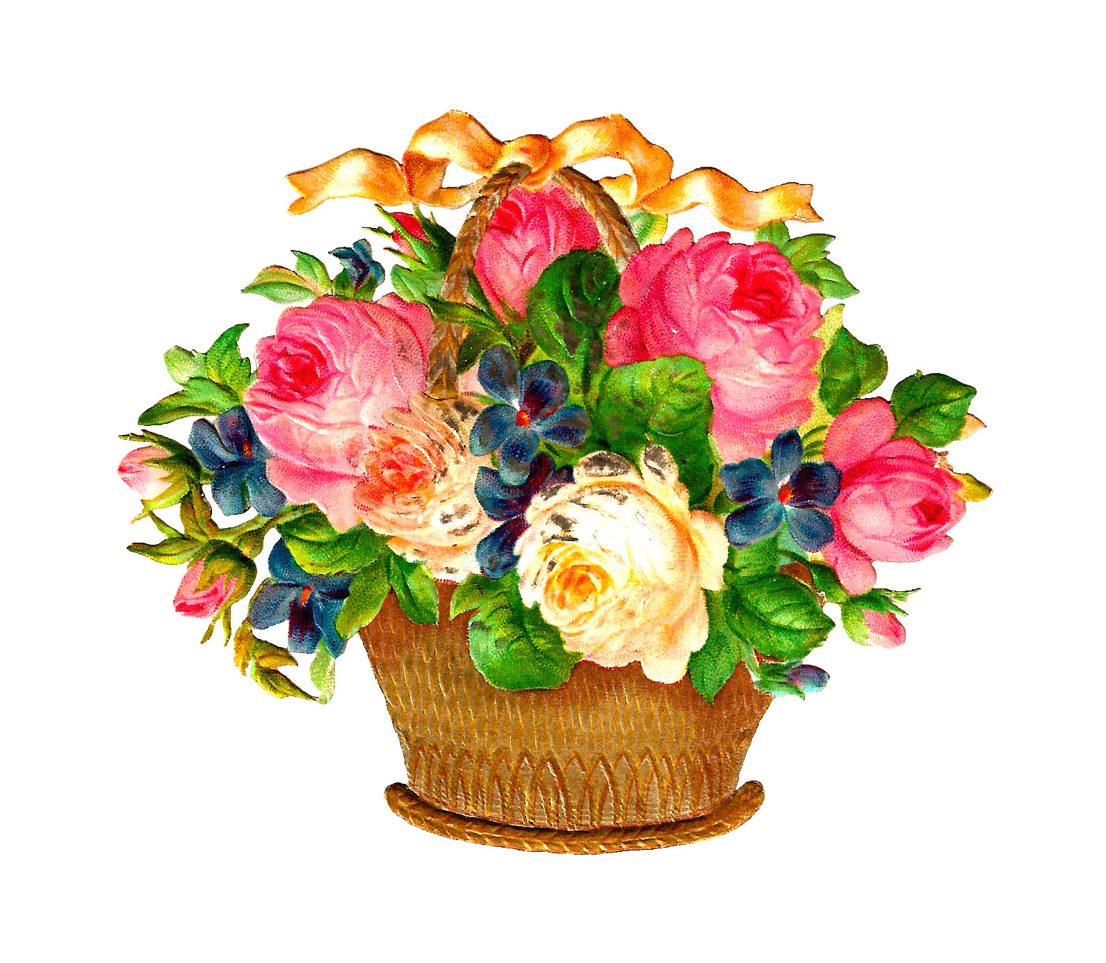 Flower Baskets Photos : Antique images free flower basket graphic pink and white