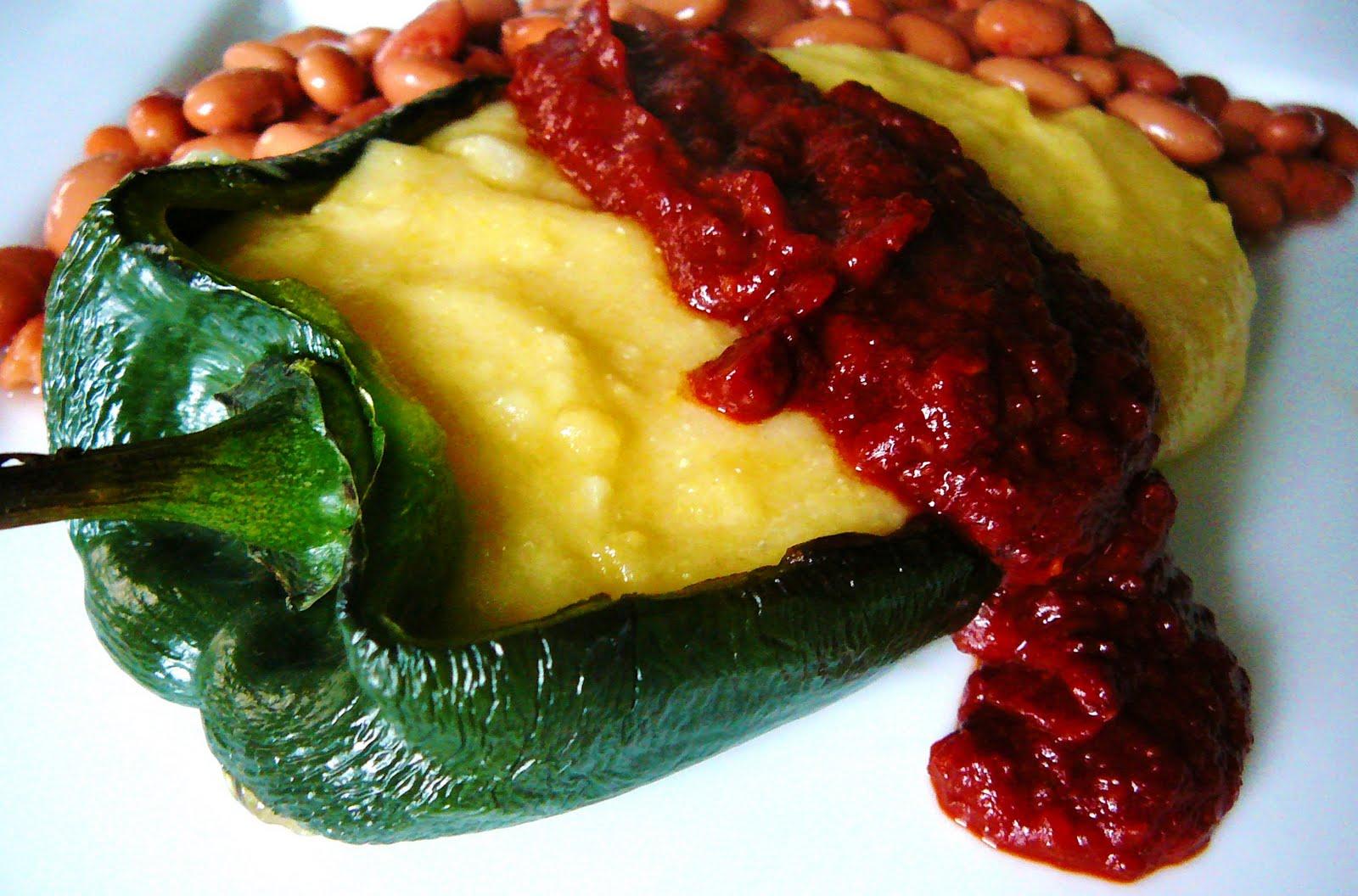 Eighty Twenty: 80--- Polenta-Stuffed Poblano Rellenos with Spicy ...