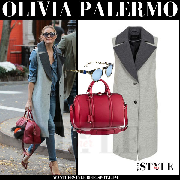 Olivia Palermo in grey sleeveless gestuz marlowe coat with red leather bag what she wore streetstyle