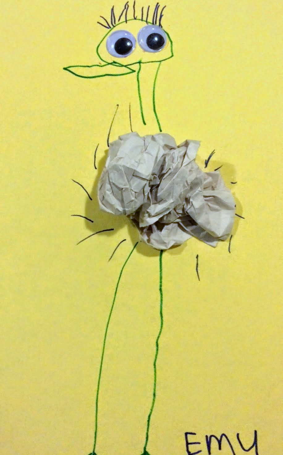 Easy kid's emu craft using scrunched up paper for the body