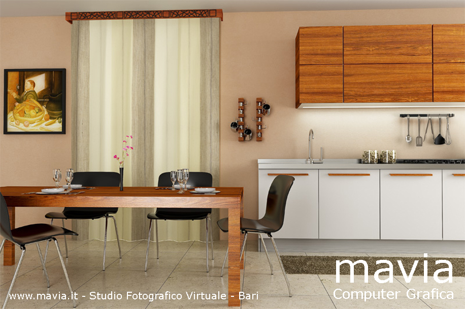 Arredamento di interni d kitchen interior design d rendering
