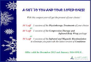Special Holiday Discount Coupon for Physiotherapy Treatments, or Compression Therapy and Infrared Body Wrap, or Infrared and Magnetic Biostimulation, by The Art of Life Health Centre