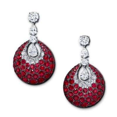 Graff Diamond and Ruby earrings Princess Charlene of Monaco 2015