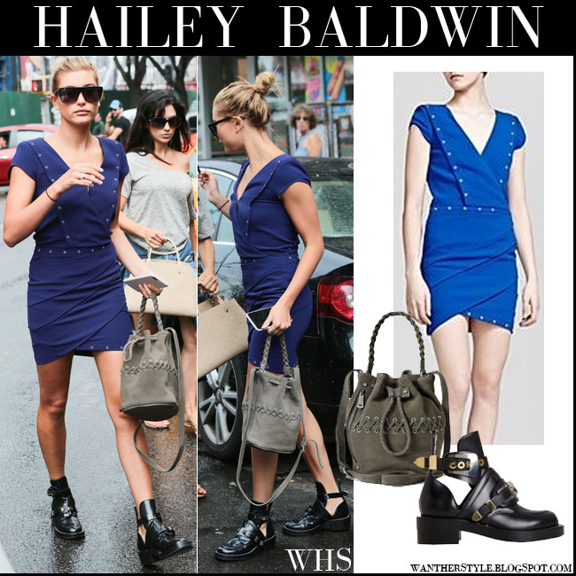 Hailey Baldwin in blue mini dress with black ankle boots what she wore july 30