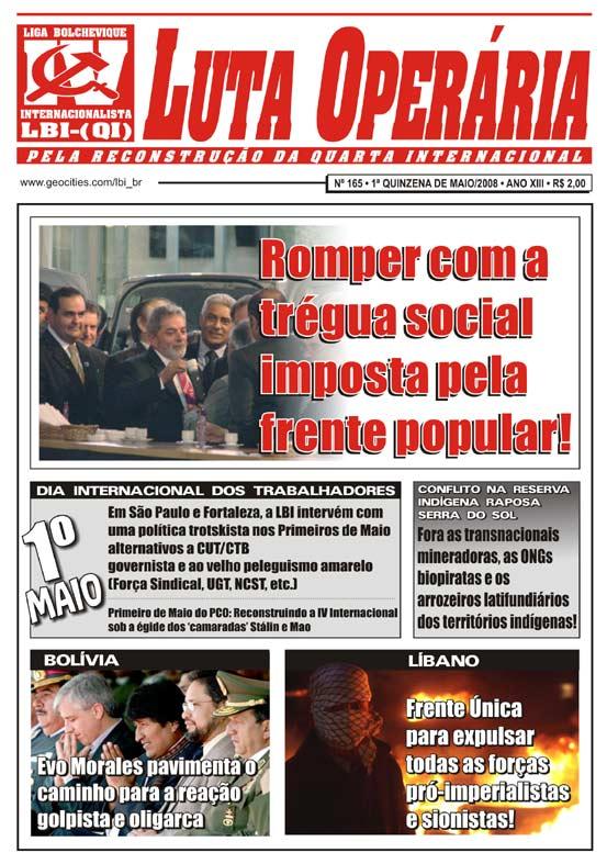 JORNAL LUTA OPERÁRIA Nº 165, 1ª QUINZENA DE MAIO/2008