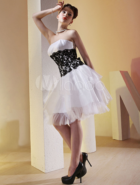 China Wholesale Clothes - White Black Strapless Multi-Layer Skirt Tulle Cocktail Dress